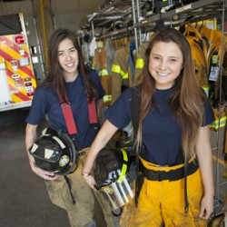 Carolyn Scheinberg and Tamara Jamil volunteer for the Cayuga Heights Fire Department.