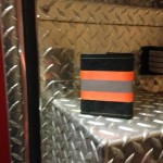 Black Leather Tri-Fold Wallet With Orange Horizontal Striping