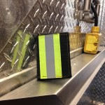 Black Leather Tri-Fold Wallet With Yellow Vertical Striping