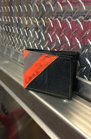 Black Leather Bi-Fold Wallet With Orange Diagonal Striping