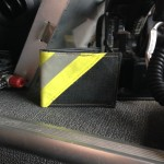 Black Leather Bi-Fold Wallet With Yellow Diagonal Striping