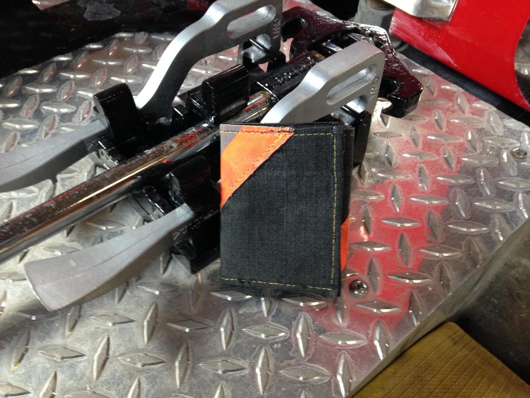 Leather Tri-Fold Wallet Black With Orange Diagonal Striping
