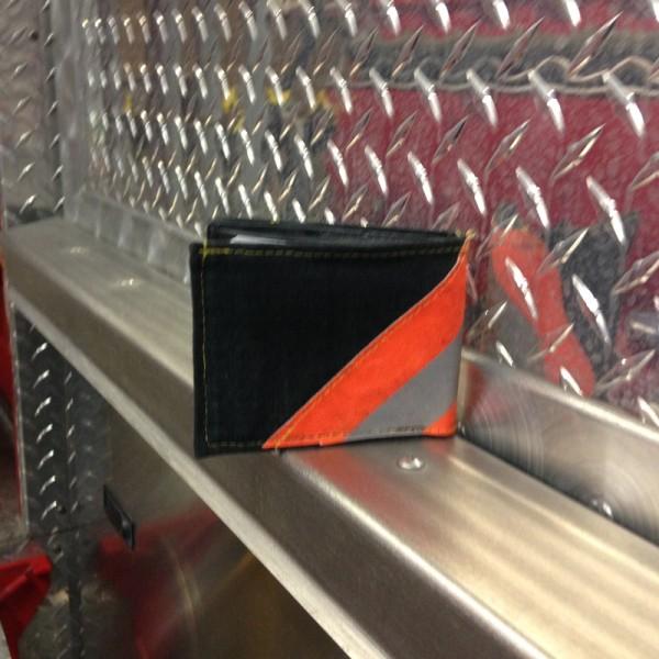 Black Leather Bi-Fold Wallet With Orange Diagonal Striping