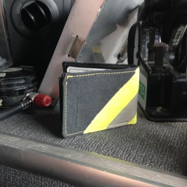 Black Leather Bi-Fold Wallet With Yellow Diagonal Striping