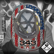343 Never Forget USA Diamond Plate Flag - Under Helmet Decal