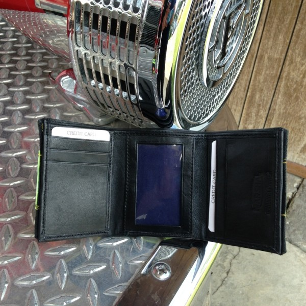 Black Leather Tri-Fold Wallet With Yellow Horizontal Striping