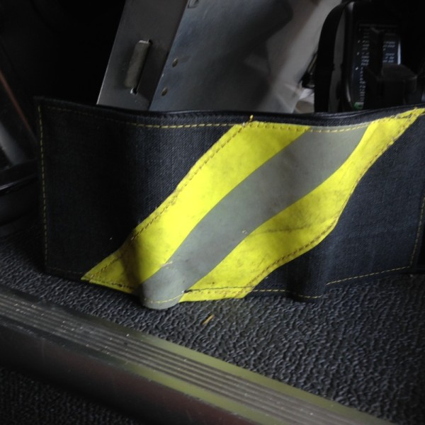 Black Leather Tri-Fold Wallet With Yellow Diagonal Striping