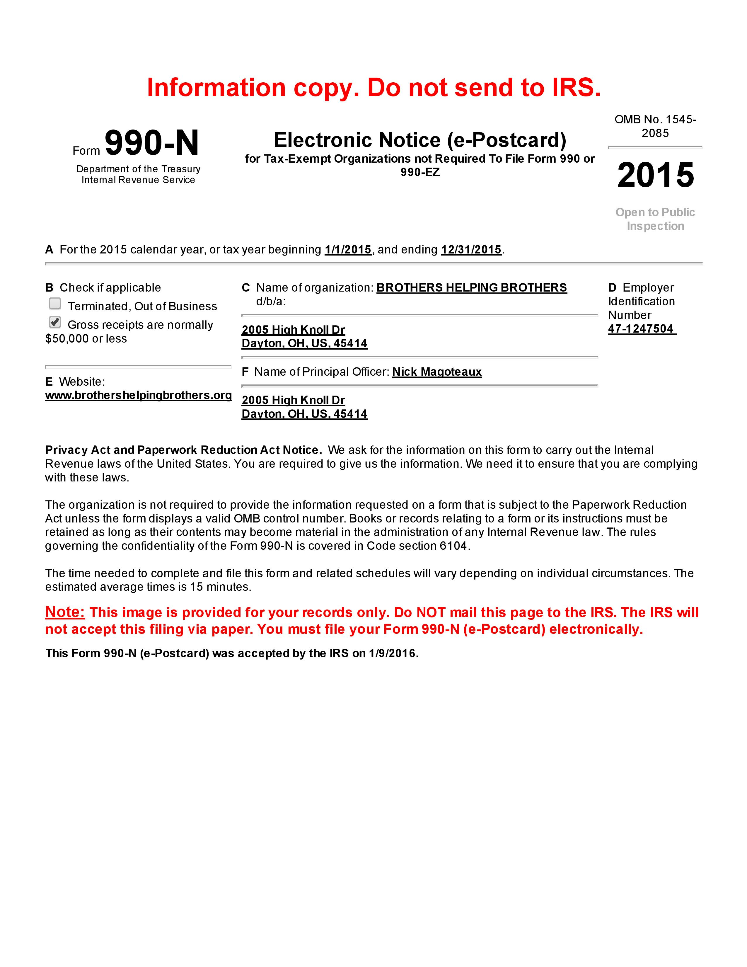 Form 990-N (e-Postcard) Online – View and Print Return-page-001 ...