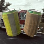 Recycled Fire Gear Can Koozie